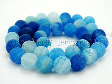 """Colorful Matte Fire Crackle Agate Gemstones Round Beads 15"""" 4mm 6mm 8mm 10mm"""