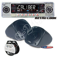 Diseño retro CD USB mp3 Oldtimer radio CROMO + construcción altavoz + cable 10m