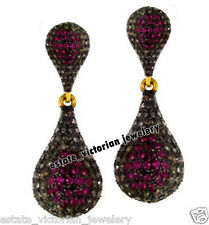Victorian Vintage 3.59cts Pave Rose Cut Diamond Ruby Jewelry .925 Silver Earring