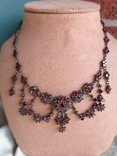 FAB ANTIQUE VICTORIAN BOHEMIAN NATURAL GARNET STARS DRIPPY FESTOON NECKLACE