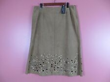 LTR0496- NWT DANA BUCHMAN Woman Suede Leather Skirt Sequined Dark Brown 16 $800