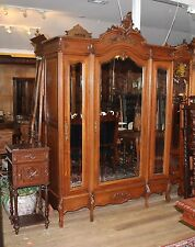 Beautiful French Antique Louis XV 3 Door Walnut Armoire