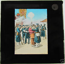 Glass Magic lantern slide RUSSO JAPANESE WAR - JAPANESE SOLDIERS LEAVING TOKYO