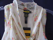 $198 Ralph Lauren Polo Rugby Ruffle Floral Silk Blouse Top Shirt NEW NWT 6 8 M