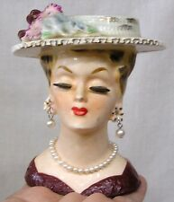 Vintage Lady Head Vase Sonsco Japan Flwred Hat Earrings Necklace Eyelashes