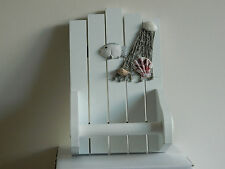 WHITE WOODEN TOILET ROLL HOLDER NAUTICAL SEASIDE BEACH NAUTICAL BATHROOM