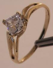 10k yellow gold Cubic zirconia CZ engagement ring estate vintage princess 1.6g