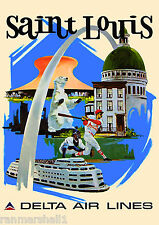 St. Louis Missouri by Airplane United States Travel Advertisement Art Poster