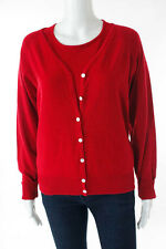 White + Warren Red Silk Cashmere Cardigan Twinset L