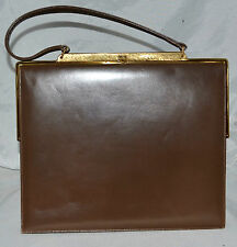 Vintage The Gray Shop Dark Brown Leather Purse w/ Copper Satin Lining Org Mirror
