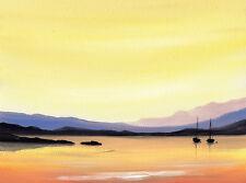 Sarah featherstone, original seascape art aquarelle, bateaux à l'aube
