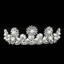Luxury Pearl Tiara Crown Wedding Bridesmaid Head Jewelry Swarovski Crystals 8621