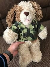 Build A Bear BAB - Shaggy Scruffy Dog With Army Khaki Jacket Soft Plush Toy 16""