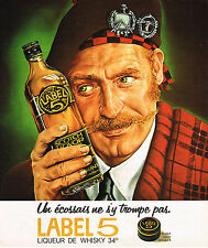 PUBLICITE ADVERTISING 084  1975  LABEL 5    liqueur de Whisky
