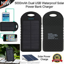 Portable 5000mAh Dual USB Waterproof Power Bank Solar Charger For Smart Phones