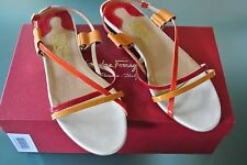 salvatore ferragamo sz 9.5b billie orange/red/rasberry open toe sandal 100%auth