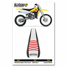 2002-2012 SUZUKI RM 85 Black/White/Red RIBBED SEAT COVER BY Enjoy MFG