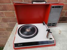 Vintage ancien philips rouge valise portable record player 70s? 60s?