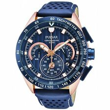 PU2082X1 NEW Pulsar Mens Date Display Chronograph Leather Strap Watch