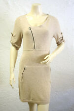 "$218 BCBG LT HEATHER COROZO ""GENIE"" WOOL ZIPPER POCKET SWEATER DRESS NWT L"