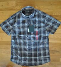 NWT Mens G. H. BASS & CO. Gray Forged Iron Plaid Cotton S/S Shirt Sz XXL