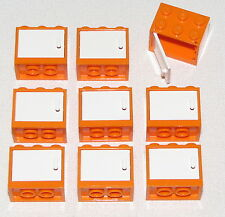 LEGO LOT OF 9 ORANGE CONTAINERS CUPBOARDS KITCHEN TOWN CITY PARTS