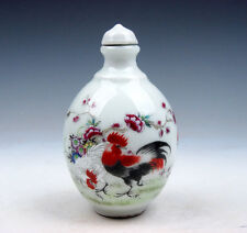 Glazed Porcelain Famille-Rose Roosters Flowers Painted Snuff Bottle #02081706