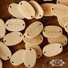 150 wood 'Handmade' button labels tags Wooden Motif Tag Connector 2 Holes Sewing