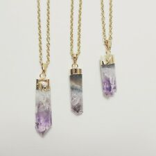 Long statement natural amethyst gemstone cylinder point bohemian gypsy necklace