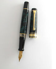 AURORA OPTIMA EMERALD GREEN & GOLD  14KT BROAD PT  FOUNTAIN  PEN NEW IN BOX  996