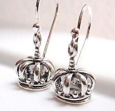 Royal Crown Earrings 925 Sterling Silver Dangle Corona Sun Jewelry