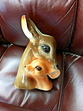 "BS5 Vintage ROYAL COPLEY 9"" Tall Deer Fawn Ceramic Planter Vase Gorgeous glossy"