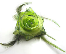 1X Rose Flower Feather Prom Wrist Corsage Hair Clip Fascinator Pin Brooch Green