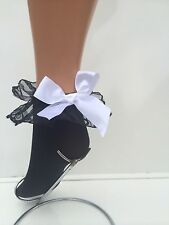 SEXY FASHION OPAQUE ANKLE HIGH SOCKS WITH LACE TRIM AND BOW BLACK, WHITE, FLIRT