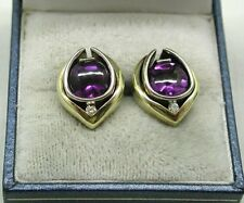 Vintage Lovely Heavy Quality Two Colour 14ct Gold Amethyst And Diamond Earrings