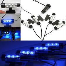 SET 4 LUCE BLU 3 LED AUTO ACCENDISIGARI INTERNO DECORAZIONE LAMPADA DC 12V 140°