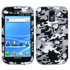 For Samsung Galaxy S II 2 T989 IMPACT TUFF HYBRID Case Cover Grey Skull Camo
