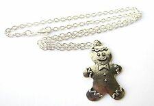 "Cute Large Gingerbread Man Silver Plated 18"" Necklace New in Gift Bag Xmas"