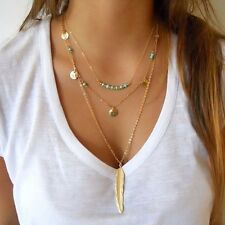 Gold Plated Three Layer Turquoise Beads Leaf Pendent Necklace Chain Statement