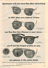 1957 ADVERT Bausch Lomb Optical Ray Ban Sunglasses 2 PG Colt Gun Pistol Fire Arm