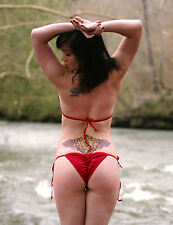 Solid Red 3 Piece Scrunch Back Sexy Puckered Bikini Made in USA