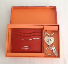 NWT Coach Orange Credit Card Case Valentine Heart Key Chain Valet Box Set 66088