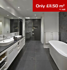 Black Satin Porcelain Tiles – Wall and floor – only £11.50m2 – 60x60cm – SAMPLE
