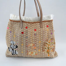 The Sak Large Fish Ocean Applique Tote Bag Woven Purse