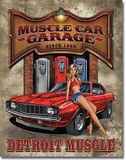 Large Detroit Legends Muscle Car Garage Vintage Weathered Metal Tin Sign 1568