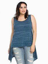 Torrid Blue Teal White Speckle High Hi-Lo Long Tunic Back Swing Tank Top Tee 3
