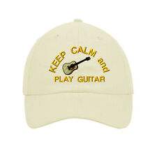 Keep Calm And Play Guitar Embroidered SOFT UNSTRUCTURED Hat Baseball Cap
