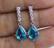18K White Gold Filled -Blue Vogue Waterdrop Topaz Gems Cocktail Jewelry Earrings