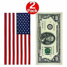 KAUFMAN - 100 Dollar Bill and American Flag - Printed Beach Towel Set(101910)