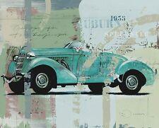 Joadoor: Blue Monday Leinwand-Bild 24x30 Wandbild Oldtimer Auto Mercedes